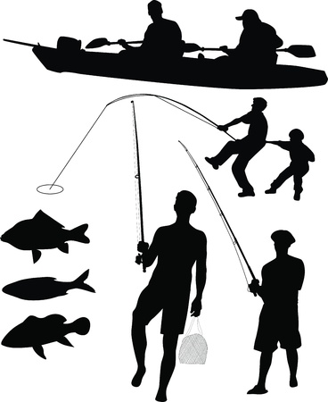 people fishermen fishing on the nature of the  isolated on black background Vector