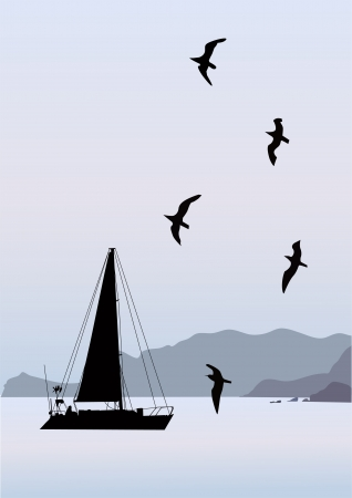 boat on the sea mountain nature Vector