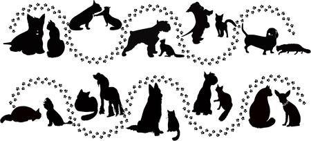 silueta de gato: animales gatos y perros rastros de la