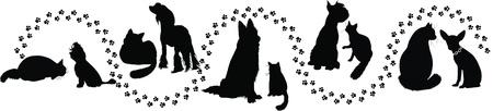 silueta gato: animales gatos y perros rastros de la