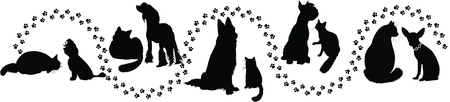 animals cats and dogs traces of the  Vector