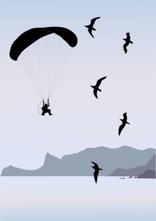 parachutist: hobby rest hobby on air in the sky  Illustration