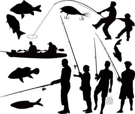 people fishermen fishing on the nature of the  isolated on black background Illustration
