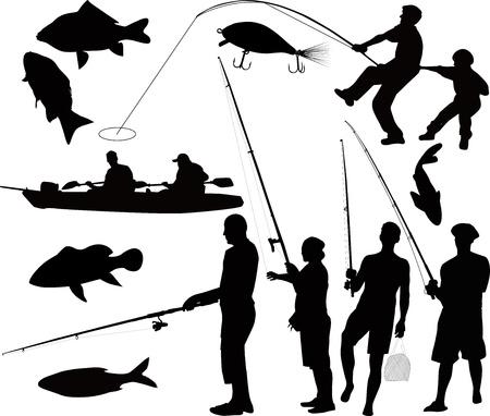 barca da pesca: persone di pesca pescatori sulla natura del isolato su sfondo nero