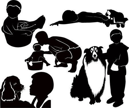 baby child with animals and dad family Stock Vector - 14840186