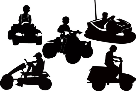 children kids in the children s transport in the Park of attractions Vector