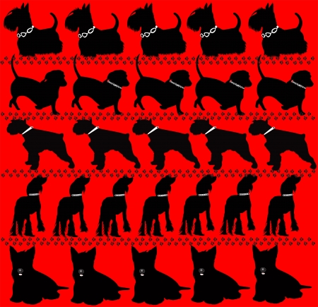 dog on a red background Vector