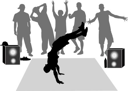 dancers break dance performance Stock Vector - 15135471