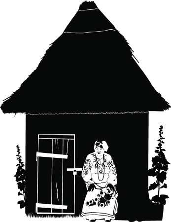 national costume: Granny woman in national costume sits at home Illustration