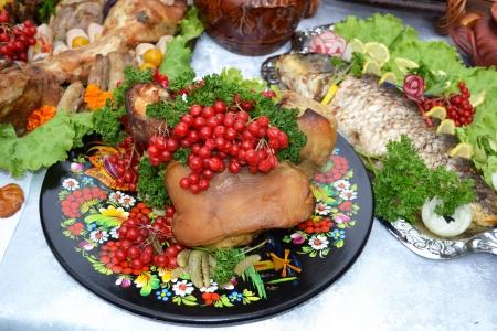 Ukrainian kitchen table eating treats Stock Photo - 15378744
