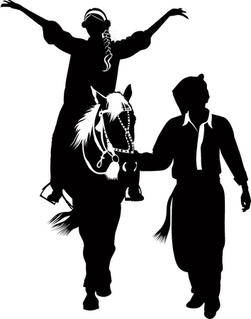 girl and the guy on the horse walk Vector