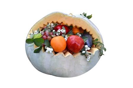 carving pumpkin: Basket of Fruit Carving Pumpkin