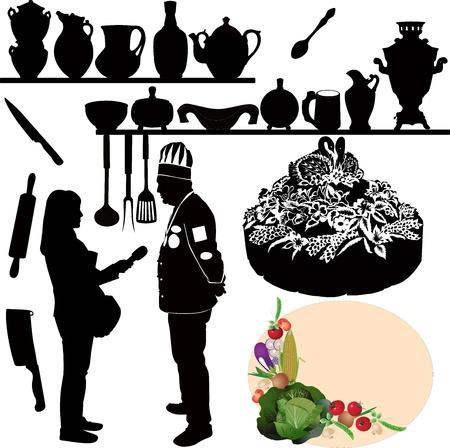chefs kitchen utensil cake Stock Vector - 15473651