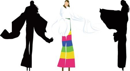 stilts: people on stilts Illustration
