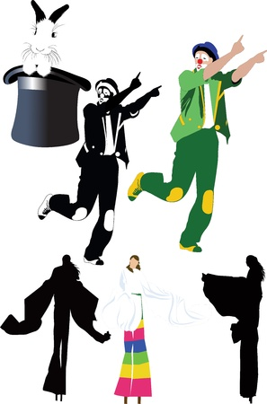 circus clown tricks people on stilts Vector