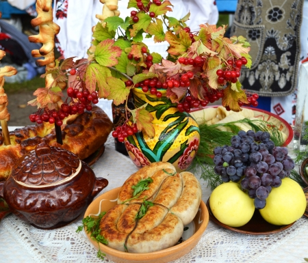 Ukrainian kitchen table eating treats photo