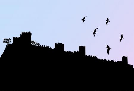 sudak: Ukraine Crimea Sudak Sudak fortress  Genoese fortress  212 years old Illustration