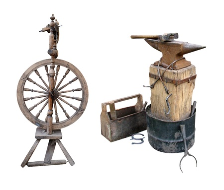 distaff spinning wheel  anvil instruments metalwork photo
