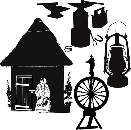spinning wheel: spinning wheel, lamp, antique anvil household items Illustration