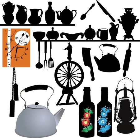 tableware, watches, spinning wheel, lamp, household items Vector