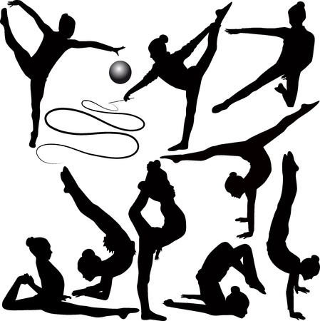flexible girl: girl gymnast athlete isolated on white background
