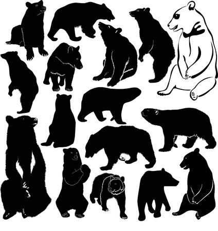 zwart wit tekening: Bears wit bruin dieren