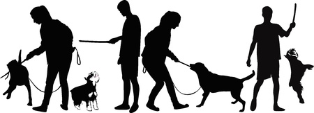 kampfhund: Mann ausgebildeter Hund Tieren