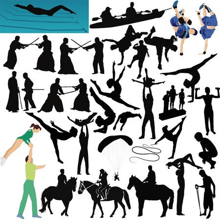 implements: People play sports collection isolated Illustration