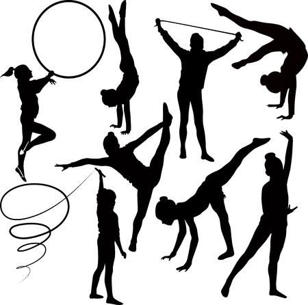 gimnastas: ni�a gimnasta aisladas sobre fondo blanco