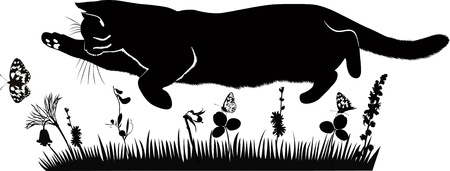 flit: pet cat catches butterflies in the meadow Illustration