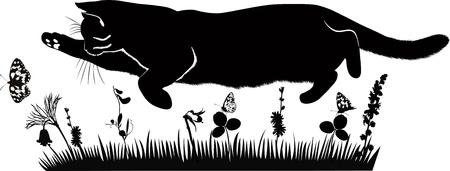 pet cat catches butterflies in the meadow Stock Vector - 19261062