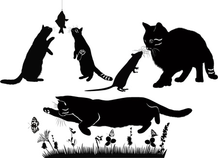 goldfish jump: cats are and mouse, fish, butterflies compositions animals isolated on a white background Illustration