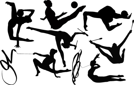 girl gymnast athlete isolated on white background Stock Vector - 20004909