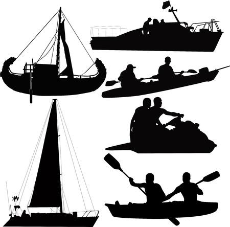 aqueous: modalit� acquosa di barche da trasporto, barche, navi, Vettoriali