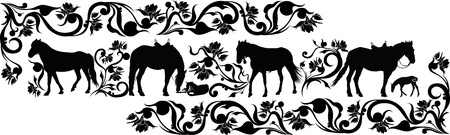 horse animal in a flower ornament Vector