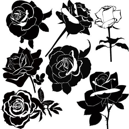 zwart wit tekening: vector verzameling van roze bloemen geïsoleerd