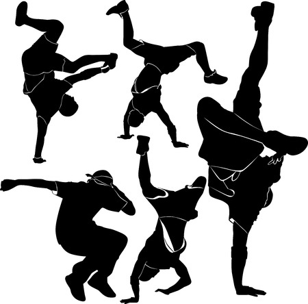hip hop dance pose: breakdance silhouette break dance
