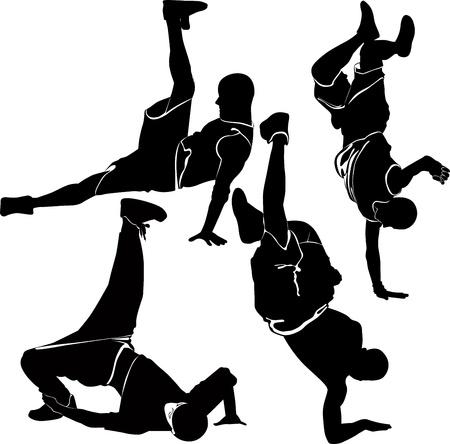 hip hop dance pose: silueta de breakdance