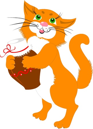 red cat with a jug of milk Vector