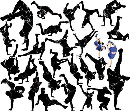 collectie breakdance silhouet break dance Stock Illustratie