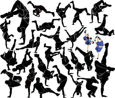 collection breakdance silhouette break dance Vector