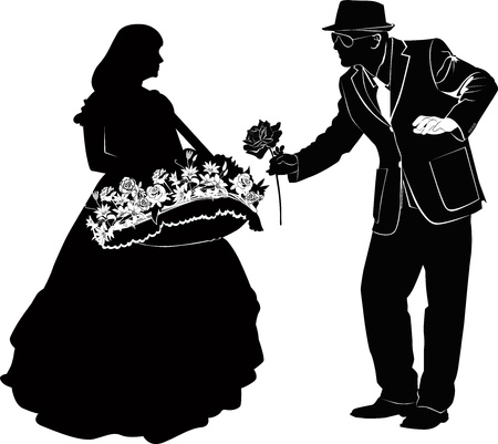 man giving flowers to a girl Vector