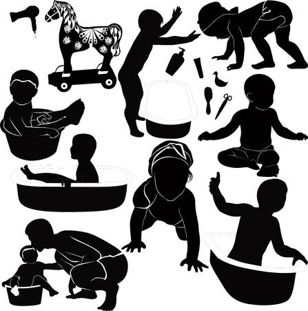 silhueta: beb Ilustração