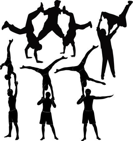 gimnasia: Los gimnastas acr�batas representaci�n