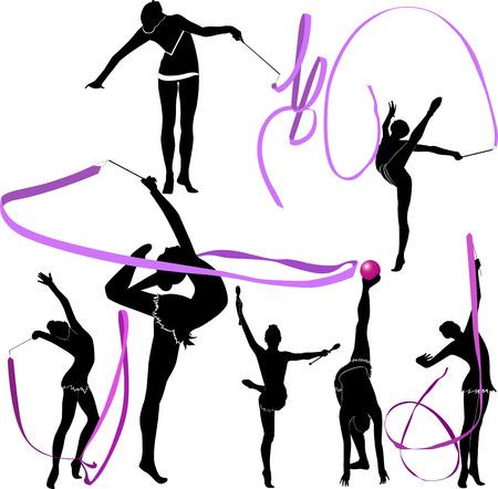 gymnastics girl: girl gymnast athlete  Illustration