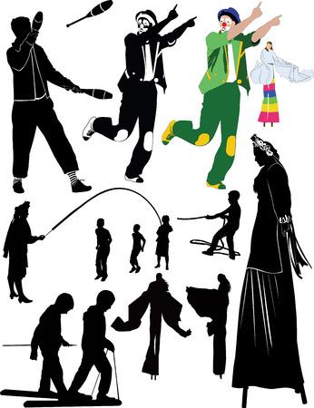 zancos: personas payaso malabarista en zancos Juegos para ni�os Vectores