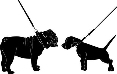 dogs English Bulldog fox terrier Ilustracja