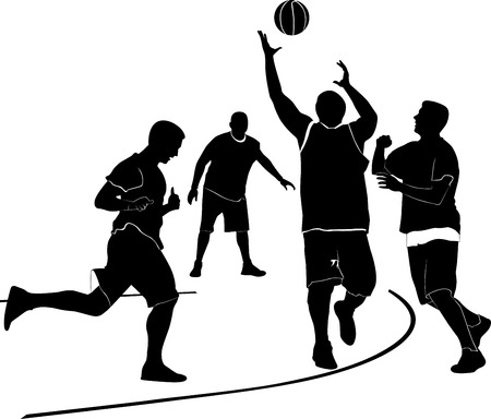 Athletes men are playing basketball Vector