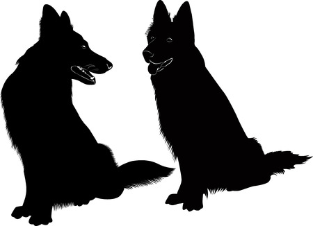 dog leash: Shepherd Dog silhouette Illustration