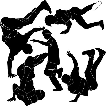 danseres silhouet: break dancer silhouet Stock Illustratie